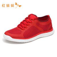 红蜻蜓男鞋春夏新款运动鞋系带网布透气低跟舒适轻便男运动休闲鞋-