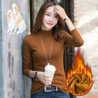 加绒加厚时尚韩版修身纯色女士长袖t恤 半高领长袖女装T恤上衣