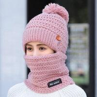 韩版毛线帽子女休闲百搭可爱针织帽子女 户外加绒保暖骑车帽防风防寒帽子