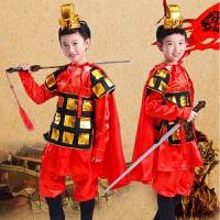 六一儿童演出服装男女盔甲古代士兵将军兵马俑花木兰戏曲表演服 +披风