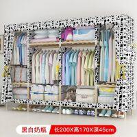 简易布衣柜实木牛津布艺单双人组装经济型加粗加固收纳挂衣柜橱子 2米宽奶瓶