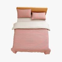 当当优品家纺 全棉日式针织床品 1.8米床 床笠四件套 条纹粉色