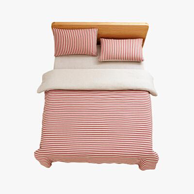 当当优品家纺 全棉日式针织床品 1.8米床 床笠四件套 条纹粉色当当自营 MUJI制造商代工