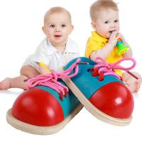 宝宝学穿绳鞋子木制系鞋带小鞋子 早教益智类玩具