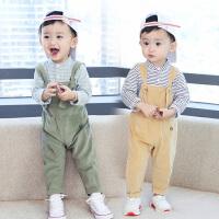 宝宝套装男1-3岁童装男童秋装婴幼儿童立领长袖灯芯绒背带裤