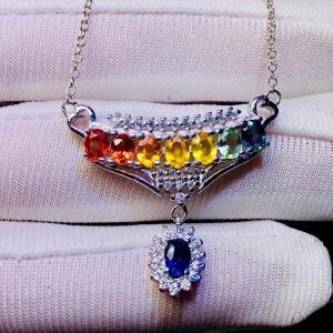 天然斯里兰卡无烧彩色蓝宝石项链