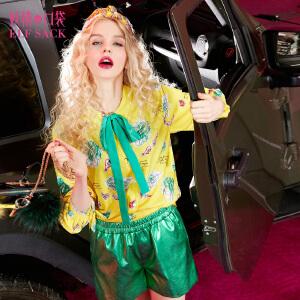 妖精的口袋醉醺醺春风春秋装新款印花衬衣领结长袖衬衫女