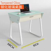 电脑桌简约简易钢化玻璃台式家用书桌80cm学生写字台办公桌子 80CM 钢玻桌面