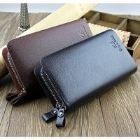 男士手包商务大容量双拉链手抓包软皮长款钱包手拿包 黑色