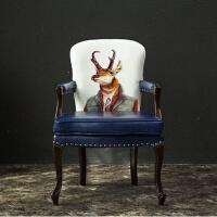 欧式实木餐椅美式乡村书房椅电脑椅休闲靠背椅子酒店咖啡厅桌椅