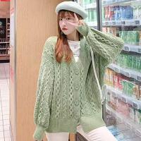 针织衫 女士时尚灯笼袖麻花针织开衫2019冬季韩版女式牛油果绿风衣学生慵懒风外套