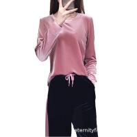 金丝绒运动套装女2018春秋新款阔腿裤休闲套装韩版长袖时尚两件套