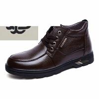 冬天男鞋商务中年士正装皮套脚爸爸棉加绒加棉中老年耐磨防滑系带皮
