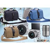 佳能M50 M2 M3 M5 M6 M10 M100微单相机包 双镜头帆布摄影单肩包