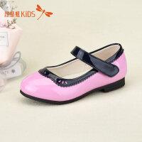 红蜻蜓童鞋圆头撞色拼接低跟可爱女童儿童小皮鞋