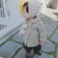 允儿妈女童婴幼儿冬呢大衣 双排扣加厚呢大衣童宝宝外套大衣