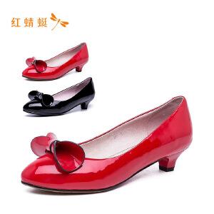 【专柜正品】红蜻蜓女鞋光面时尚尖头蝴蝶结低跟女单鞋