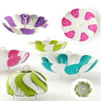 普润 客厅创意现代欧式可伸缩水果盘果盆雀尼尔塑料干果盘零食盒沥水架 --绿色