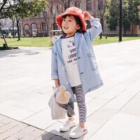 女童牛仔外套春秋2018新款潮 韩版中长款儿童春装上衣风衣外穿衣