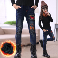 女童加绒加厚牛仔裤冬季6-13岁女大童保暖裤女童裤小脚裤