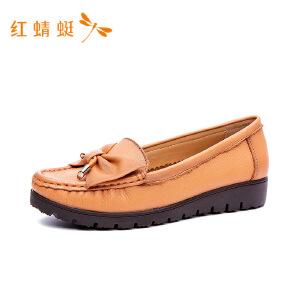 【专柜正品】红蜻蜓圆头低跟舒适百搭女单鞋