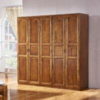 全实木衣柜香樟木大衣橱组装三四五六门木质柜子定做顶柜卧室家具
