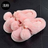 家居家用可爱月子棉拖鞋女 情侣室内厚底防滑保暖拖鞋男士