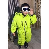 儿童滑雪服荧光绿亮色套装连体2岁-8岁中小童冬季保暖防风防水新品 荧光绿