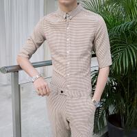 正装男衬衫套装 大学生 男士职业装帅气潮流七分袖格子衬衣两件套