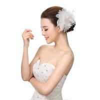 新娘韩式白色唯美蕾丝花朵头花婚礼头饰结婚纱礼服配饰品发饰 白色 均码