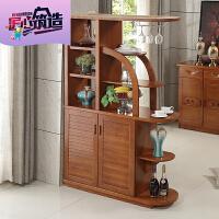 现代中式实木间厅柜玄关柜酒柜多功能组合双面柜子
