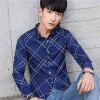 秋季青少年长袖衬衫男士商务休闲印花衬衣韩版寸衣修身潮男装薄款