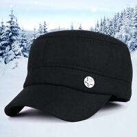 新款秋冬季韩版潮时尚毛呢运动帽男士户外护耳加厚保暖帽平顶帽子