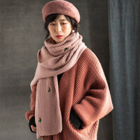 可爱仙人掌刺绣长款保暖针织围脖纯色学生韩版毛线围巾女