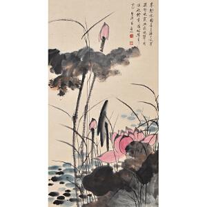 C2626启功《秋荷》(北京文物公司旧藏、原装旧裱满斑)