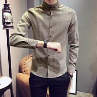 春秋男士长袖衬衫韩版160矮个子S码修身气质寸衣小码发型师潮衬衣