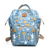 新款印花多功能宝妈包妈咪双肩母婴背包女时尚妈妈大容量旅行手提 摇摆熊 预售3月10号发货