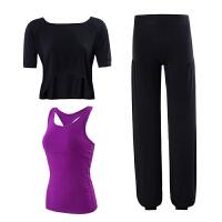 瑜伽服套装女2018新款运动宽松大码莫代尔初学者三件套夏背心 中袖黑+紫 灯笼裤三件套