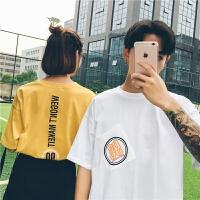情侣装夏季新品小清新T恤男日系个性印花水洗五分袖韩版宽松短袖