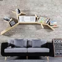 简约实木创意墙壁树形书架壁柜置物架隔板展示架美式壁挂装饰架