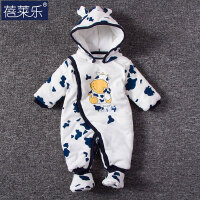 婴儿连体衣服宝宝新生儿0岁3月棉衣冬装冬季衣满月外出服