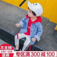 童装新款男童带帽牛仔外套春秋款宝宝中小童上衣儿童纯棉休闲衣服