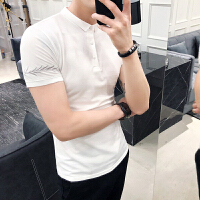 2018夏装英伦风刺绣Polo衫韩版保罗衫男士硬汉紧身短袖翻领T恤潮