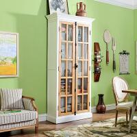奇居良品 美法式乡村实木家具 博克赛两开门天地锁双门玻璃书柜