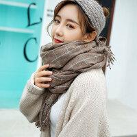 韩版百搭保暖加厚围脖英伦学生超大仿羊绒披肩男女格子围巾
