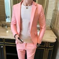 粉色长袖西服套装男青年时尚发型师修身夜店西装男两件套
