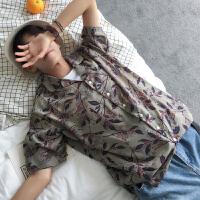 短袖衬衫男士夏季新款港风碎花西装领衬衣薄学生潮