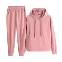 【满99减50元】361度运动服休闲女装2018秋季新款卫衣健身服粉色天鹅绒套装女