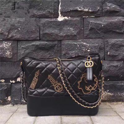 真皮女包新款女小香风链条包头层牛皮斜挎包刘雯同款流浪包包