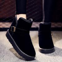 可爱加厚学生短靴加绒防滑带钻棉鞋女士靴子保暖短筒雪地靴女